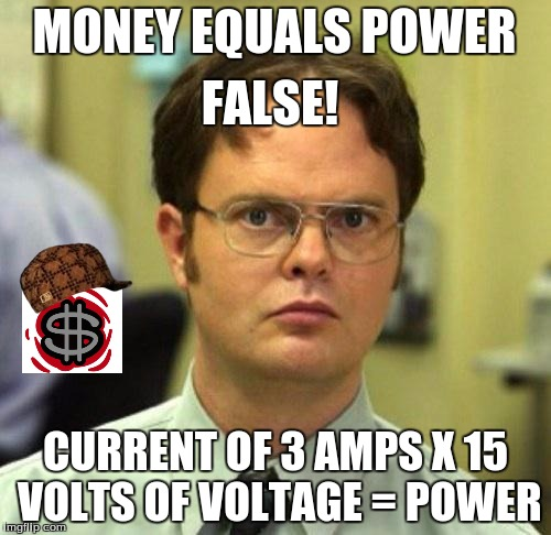 The Binding of Isaac Fallacies |  MONEY EQUALS POWER; FALSE! CURRENT OF 3 AMPS X 15 VOLTS OF VOLTAGE = POWER | image tagged in false,scumbag,power,electricity,the office,isaac | made w/ Imgflip meme maker