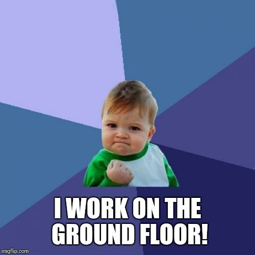 Success Kid Meme | I WORK ON THE GROUND FLOOR! | image tagged in memes,success kid | made w/ Imgflip meme maker