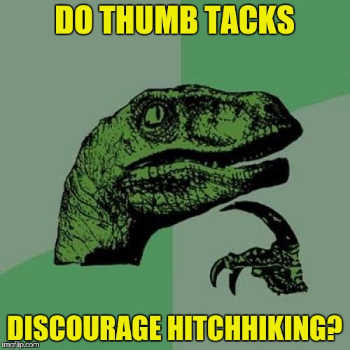 Philosoraptor Meme | DO THUMB TACKS DISCOURAGE HITCHHIKING? | image tagged in memes,philosoraptor | made w/ Imgflip meme maker
