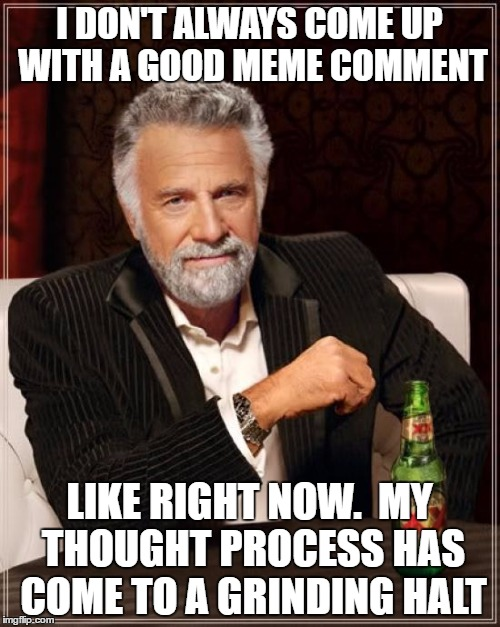 The Most Interesting Man In The World Meme | I DON'T ALWAYS COME UP WITH A GOOD MEME COMMENT LIKE RIGHT NOW.  MY THOUGHT PROCESS HAS COME TO A GRINDING HALT | image tagged in memes,the most interesting man in the world | made w/ Imgflip meme maker