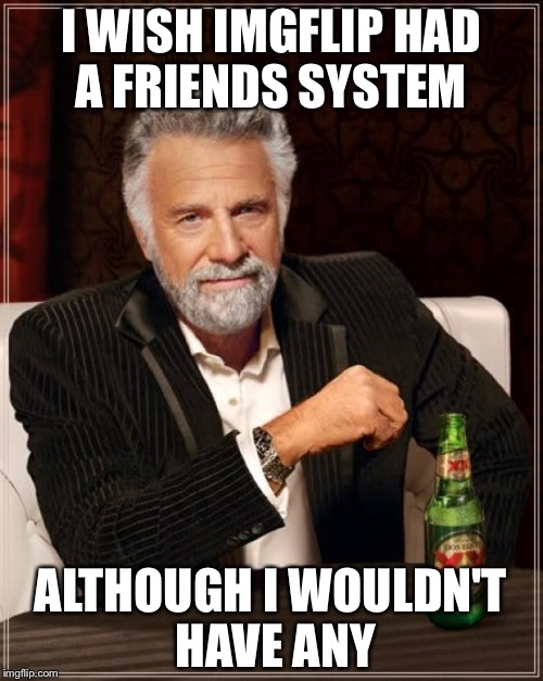 The Most Interesting Man In The World Meme | I WISH IMGFLIP HAD A FRIENDS SYSTEM ALTHOUGH I WOULDN'T HAVE ANY | image tagged in memes,the most interesting man in the world | made w/ Imgflip meme maker