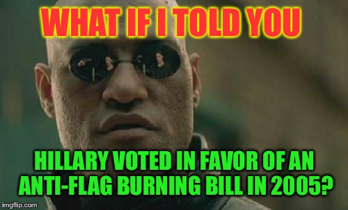 Matrix Morpheus Meme | WHAT IF I TOLD YOU HILLARY VOTED IN FAVOR OF AN ANTI-FLAG BURNING BILL IN 2005? | image tagged in memes,matrix morpheus | made w/ Imgflip meme maker