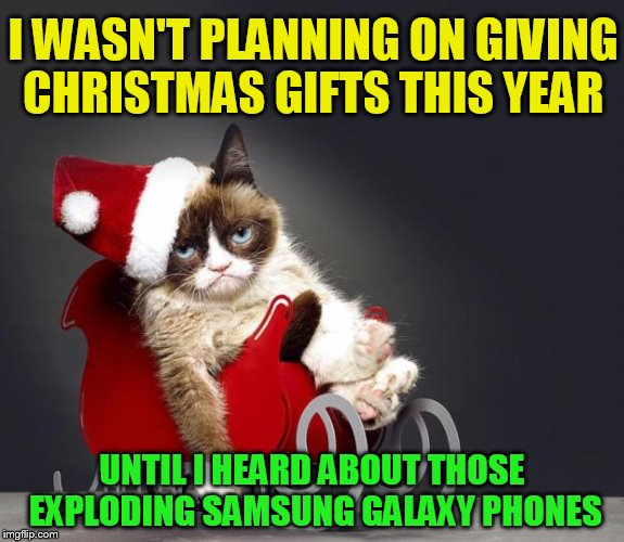 The 24 Memes Till Christmas Event (I shall be doing one Christmas meme a day till Christmas :)  | I WASN'T PLANNING ON GIVING CHRISTMAS GIFTS THIS YEAR UNTIL I HEARD ABOUT THOSE EXPLODING SAMSUNG GALAXY PHONES | image tagged in grumpy cat christmas hd,christmas memes,funny memes,grumpy cat,funny,merry christmas | made w/ Imgflip meme maker