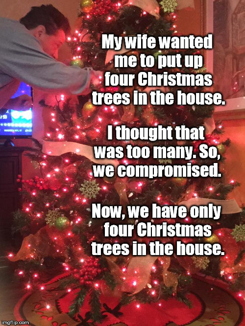 Yes, that's really me in one of our four trees. | My wife wanted me to put up four Christmas trees in the house. I thought that was too many. So, we compromised. Now, we have only four Chris | image tagged in christmas tree,christmas,wife,compromise | made w/ Imgflip meme maker