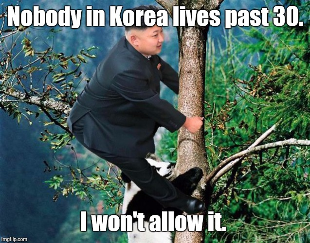 Kim Jong Un 7 | Nobody in Korea lives past 30. I won't allow it. | image tagged in kim jong un 7 | made w/ Imgflip meme maker