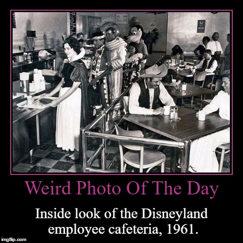 The Happiest *Cough* (Lies) *Cough* On Earth! | Weird Photo Of The Day | Inside look of the Disneyland employee cafeteria, 1961. | image tagged in funny,demotivationals,weird,photo of the day,disneyland,employees | made w/ Imgflip demotivational maker