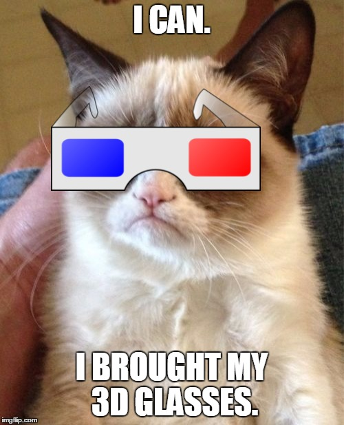 Grumpy Cat Meme | I CAN. I BROUGHT MY 3D GLASSES. | image tagged in memes,grumpy cat | made w/ Imgflip meme maker