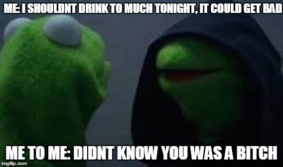 me to me | ME: I SHOULDNT DRINK TO MUCH TONIGHT, IT COULD GET BAD ME TO ME: DIDNT KNOW YOU WAS A B**CH | image tagged in evil kermet,me to me | made w/ Imgflip meme maker