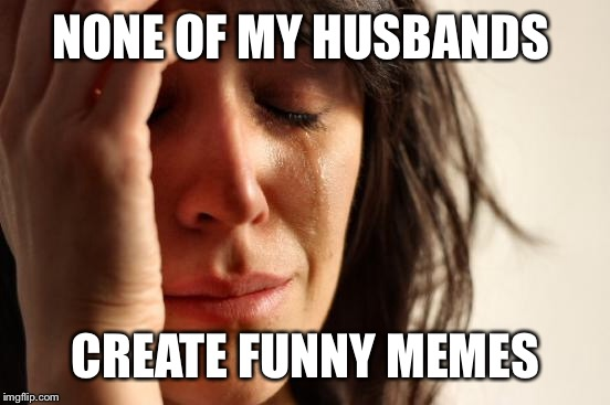 First World Problems Meme | NONE OF MY HUSBANDS CREATE FUNNY MEMES | image tagged in memes,first world problems | made w/ Imgflip meme maker