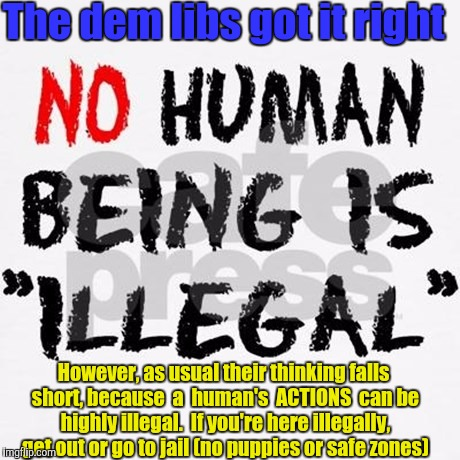 Illegal Actions  |  The dem libs got it right; However, as usual their thinking falls short, because  a  human's  ACTIONS  can be highly illegal.  If you're here illegally, get out or go to jail (no puppies or safe zones) | image tagged in hillary clinton,mexicans,immigrants,illegal immigration,democrats,liberal logic | made w/ Imgflip meme maker