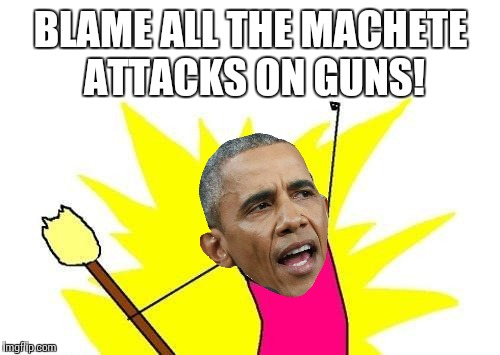 X All The Y Meme | BLAME ALL THE MACHETE ATTACKS ON GUNS! | image tagged in memes,x all the y | made w/ Imgflip meme maker