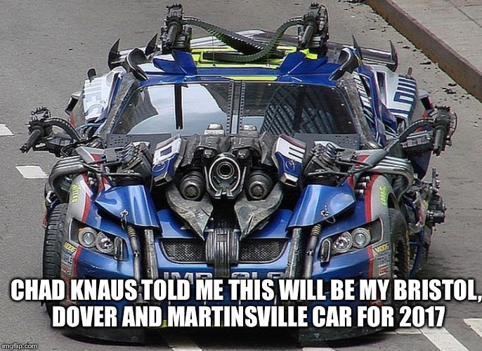 CHAD KNAUS TOLD ME THIS WILL BE MY BRISTOL, DOVER AND MARTINSVILLE CAR FOR 2017 | image tagged in jimmie johnson | made w/ Imgflip meme maker