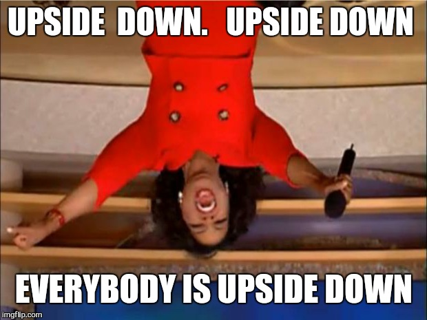 Oprah You Get A Meme | UPSIDE  DOWN.   UPSIDE DOWN EVERYBODY IS UPSIDE DOWN | image tagged in memes,oprah you get a | made w/ Imgflip meme maker