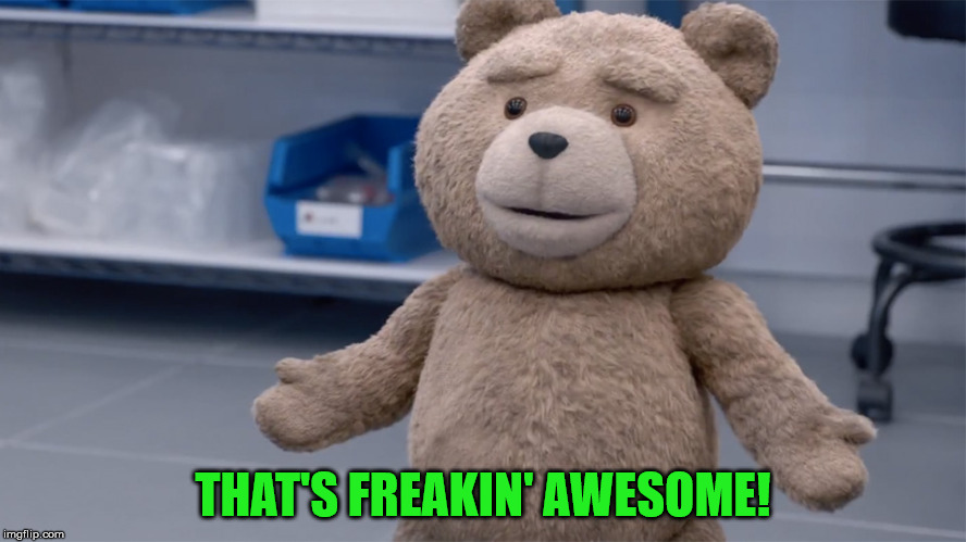 Ted Question | THAT'S FREAKIN' AWESOME! | image tagged in ted question | made w/ Imgflip meme maker