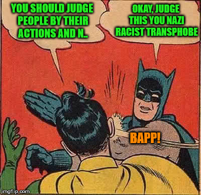 Batman Slapping Robin Meme | YOU SHOULD JUDGE PEOPLE BY THEIR ACTIONS AND N.. OKAY, JUDGE THIS YOU NAZI RACIST TRANSPHOBE BAPP! | image tagged in memes,batman slapping robin | made w/ Imgflip meme maker