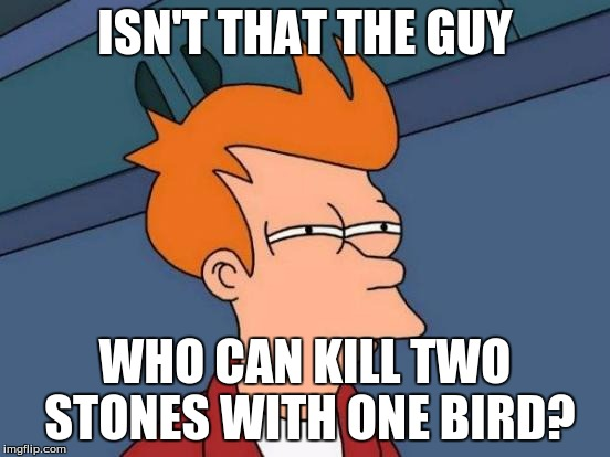 Futurama Fry Meme | ISN'T THAT THE GUY WHO CAN KILL TWO STONES WITH ONE BIRD? | image tagged in memes,futurama fry | made w/ Imgflip meme maker