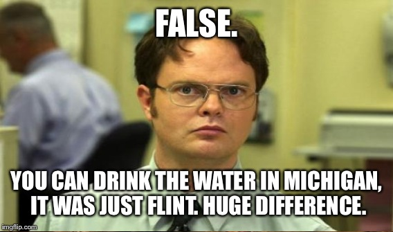 FALSE. YOU CAN DRINK THE WATER IN MICHIGAN, IT WAS JUST FLINT. HUGE DIFFERENCE. | made w/ Imgflip meme maker