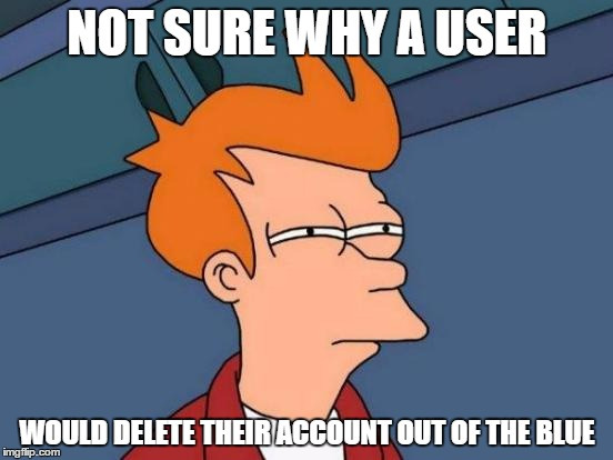 Would Appreciate A Comment From Coolermommy Or Shabbyrose | NOT SURE WHY A USER WOULD DELETE THEIR ACCOUNT OUT OF THE BLUE | image tagged in memes,futurama fry | made w/ Imgflip meme maker