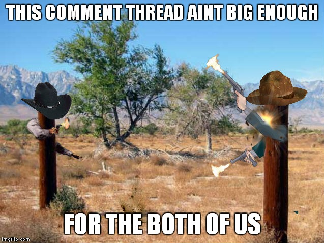 Early internet comment wars... | THIS COMMENT THREAD AINT BIG ENOUGH FOR THE BOTH OF US | image tagged in memestrocity,posts | made w/ Imgflip meme maker