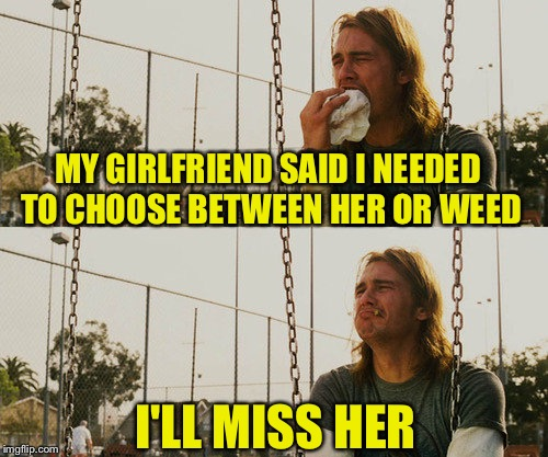 First World Stoner Problems Meme | MY GIRLFRIEND SAID I NEEDED TO CHOOSE BETWEEN HER OR WEED I'LL MISS HER | image tagged in memes,first world stoner problems | made w/ Imgflip meme maker