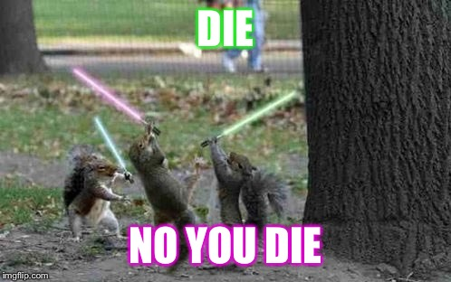Squirrels With Light Sabers | DIE NO YOU DIE | image tagged in squirrels with light sabers | made w/ Imgflip meme maker