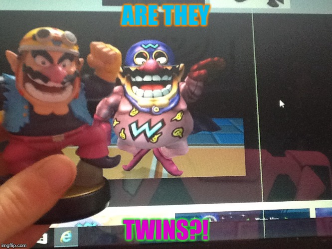 Twins?! |  ARE THEY; TWINS?! | image tagged in memes,wario | made w/ Imgflip meme maker