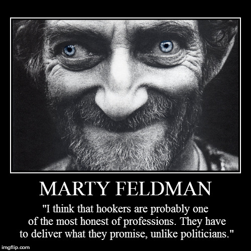 "Marty Feldman | MARTY FELDMAN | ""I think that hookers are probably one of the most honest of professions. They have to deliver what they promise, unlike pol 