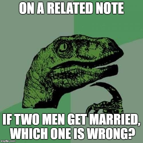 Philosoraptor Meme | ON A RELATED NOTE IF TWO MEN GET MARRIED, WHICH ONE IS WRONG? | image tagged in memes,philosoraptor | made w/ Imgflip meme maker