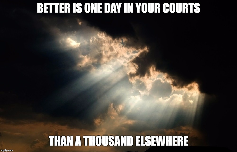 Psalm 84:10 | BETTER IS ONE DAY IN YOUR COURTS THAN A THOUSAND ELSEWHERE | image tagged in psalm,holy bible,god,jesus christ,salvation,church | made w/ Imgflip meme maker
