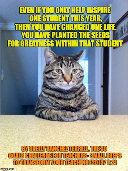 Take A Seat Cat Meme | EVEN IF YOU ONLY HELP INSPIRE ONE STUDENT THIS YEAR, THEN YOU HAVE CHANGED ONE LIFE. YOU HAVE PLANTED THE SEEDS FOR GREATNESS WITHIN THAT ST | image tagged in memes,take a seat cat | made w/ Imgflip meme maker