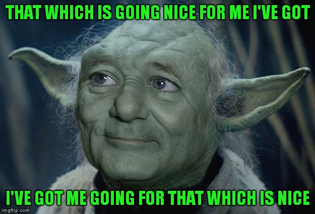 Yoda Bill Murray | THAT WHICH IS GOING NICE FOR ME I'VE GOT I'VE GOT ME GOING FOR THAT WHICH IS NICE | image tagged in yoda bill murray | made w/ Imgflip meme maker