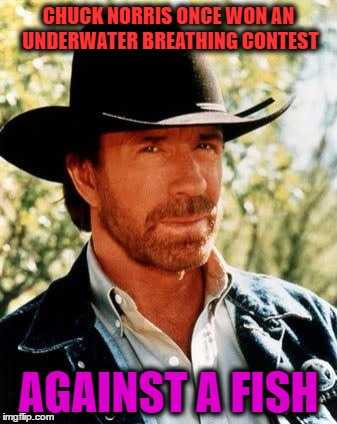 Chuck Norris Meme | CHUCK NORRIS ONCE WON AN UNDERWATER BREATHING CONTEST AGAINST A FISH | image tagged in memes,chuck norris | made w/ Imgflip meme maker