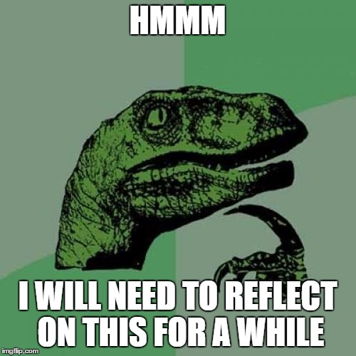 Philosoraptor Meme | HMMM I WILL NEED TO REFLECT ON THIS FOR A WHILE | image tagged in memes,philosoraptor | made w/ Imgflip meme maker