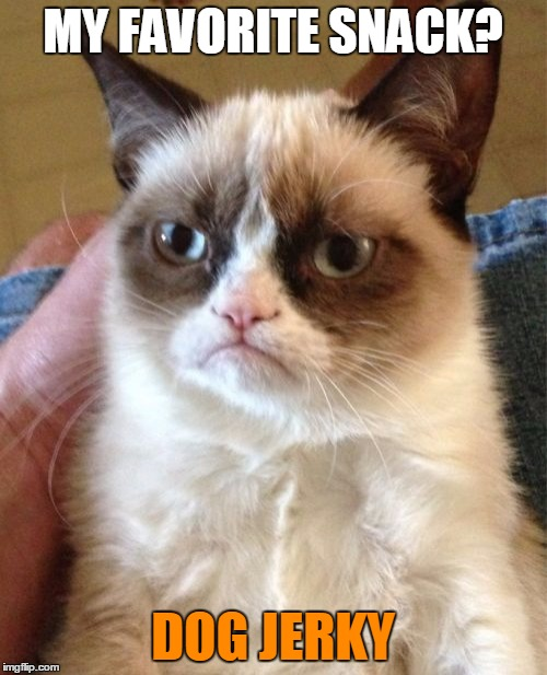 Grumpy Cat Meme | MY FAVORITE SNACK? DOG JERKY | image tagged in memes,grumpy cat | made w/ Imgflip meme maker