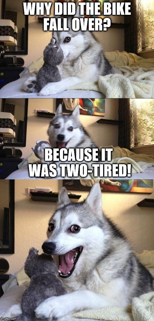 Dog Joker | WHY DID THE BIKE FALL OVER? BECAUSE IT WAS TWO-TIRED! | image tagged in dog joker | made w/ Imgflip meme maker