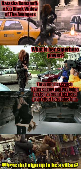 Um, Hail Hydra !?! | Natasha Romanoff: a.k.a Black Widow of The Avengers Where do I sign up to be a villan? What is her superhero power? Thrusting her crotch at  | image tagged in hail hydra,avengers,black widow | made w/ Imgflip meme maker