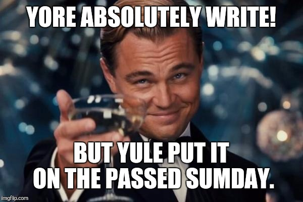 Leonardo Dicaprio Cheers Meme | YORE ABSOLUTELY WRITE! BUT YULE PUT IT ON THE PASSED SUMDAY. | image tagged in memes,leonardo dicaprio cheers | made w/ Imgflip meme maker