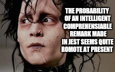 THE PROBABILITY OF AN INTELLIGENT COMPREHENSIABLE  REMARK MADE IN JEST SEEMS QUITE ROMOTE AT PRESENT | made w/ Imgflip meme maker