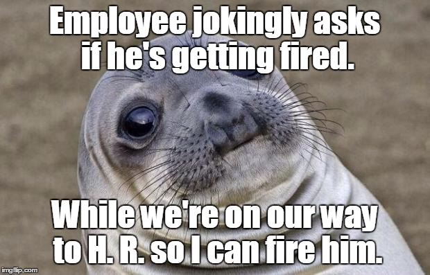 Awkward Moment Sealion Meme | Employee jokingly asks if he's getting fired. While we're on our way to H. R. so I can fire him. | image tagged in memes,awkward moment sealion | made w/ Imgflip meme maker
