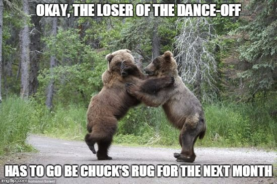 OKAY, THE LOSER OF THE DANCE-OFF HAS TO GO BE CHUCK'S RUG FOR THE NEXT MONTH | made w/ Imgflip meme maker