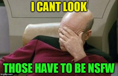 Captain Picard Facepalm Meme | I CANT LOOK THOSE HAVE TO BE NSFW | image tagged in memes,captain picard facepalm | made w/ Imgflip meme maker