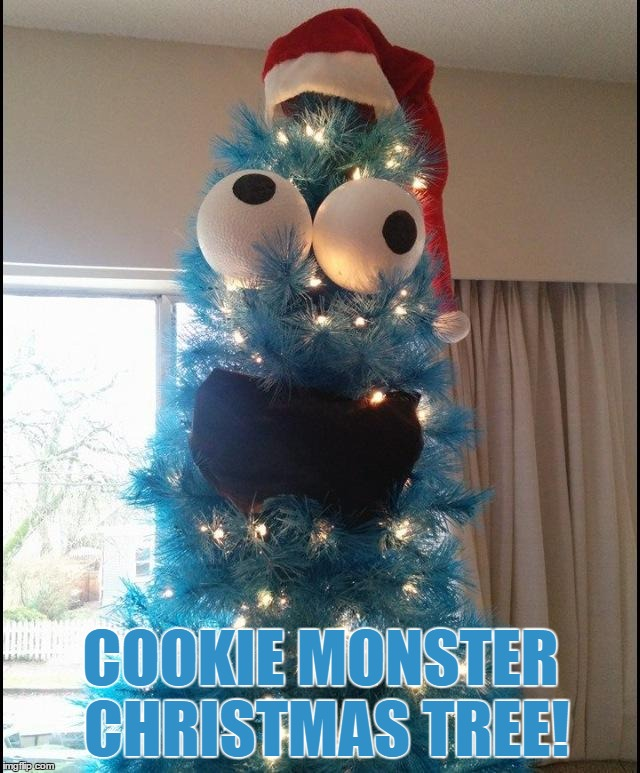 Santa Might Have Some Problems With Getting His Cookies At This House, 20 Days Left Until Christmas... | COOKIE MONSTER CHRISTMAS TREE! | image tagged in memes,cookie monster,christmas,christmas tree,funny,cookies | made w/ Imgflip meme maker