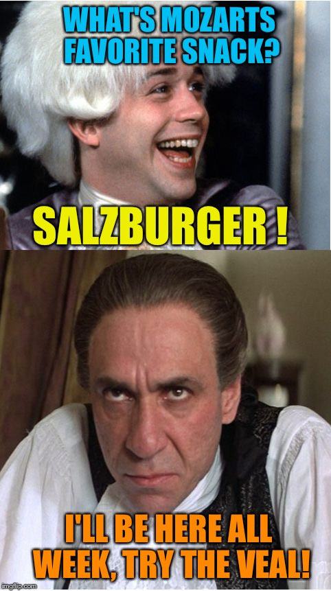 Mozart 225 year death anniversary | WHAT'S MOZARTS FAVORITE SNACK? SALZBURGER ! I'LL BE HERE ALL WEEK, TRY THE VEAL! | image tagged in mozart,memes | made w/ Imgflip meme maker