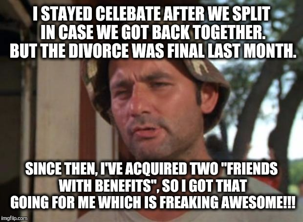 "I STAYED CELEBATE AFTER WE SPLIT IN CASE WE GOT BACK TOGETHER. BUT THE DIVORCE WAS FINAL LAST MONTH. SINCE THEN, I'VE ACQUIRED TWO ""FRIENDS  