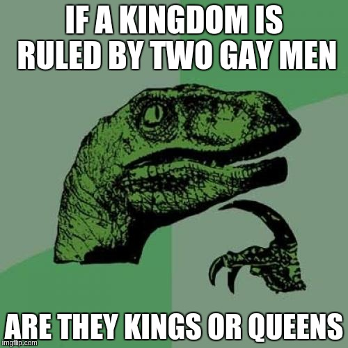 Philosoraptor Meme | IF A KINGDOM IS RULED BY TWO GAY MEN ARE THEY KINGS OR QUEENS | image tagged in memes,philosoraptor | made w/ Imgflip meme maker