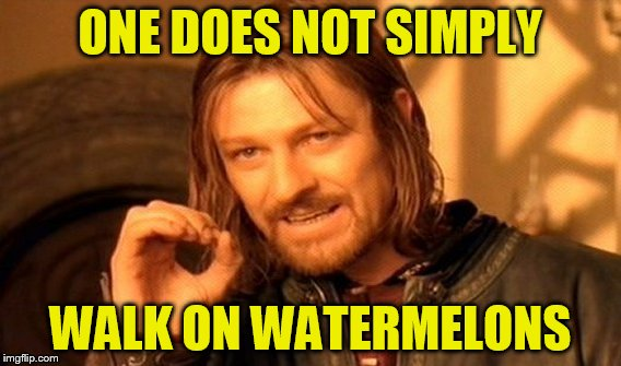 One Does Not Simply Meme | ONE DOES NOT SIMPLY WALK ON WATERMELONS | image tagged in memes,one does not simply | made w/ Imgflip meme maker