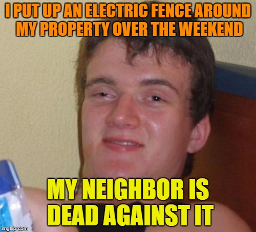 Electric fence | I PUT UP AN ELECTRIC FENCE AROUND MY PROPERTY OVER THE WEEKEND MY NEIGHBOR IS DEAD AGAINST IT | image tagged in memes,10 guy,funny,property,neighbor,electric | made w/ Imgflip meme maker