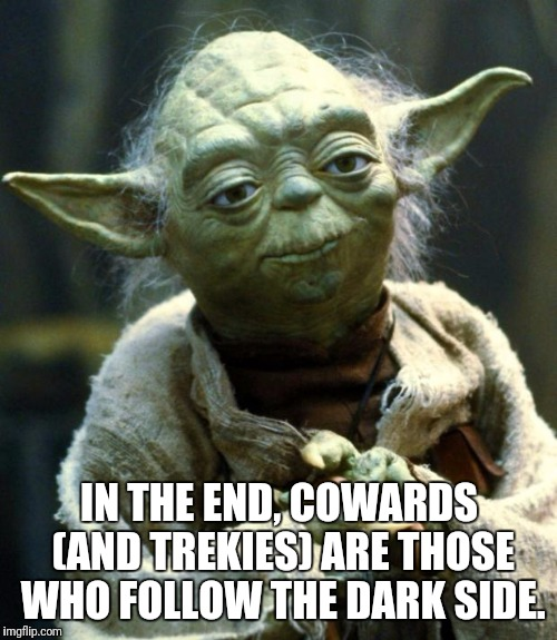 Star Wars Yoda Meme | IN THE END, COWARDS (AND TREKIES) ARE THOSE WHO FOLLOW THE DARK SIDE. | image tagged in memes,star wars yoda | made w/ Imgflip meme maker