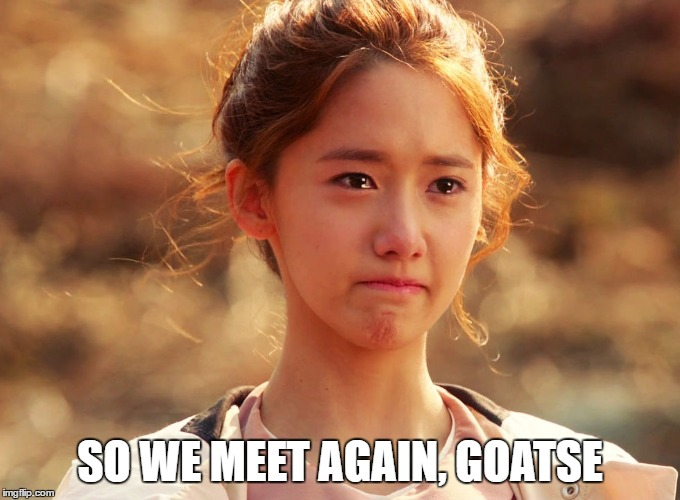 Yoona Crying | SO WE MEET AGAIN, GOATSE | image tagged in yoona crying | made w/ Imgflip meme maker