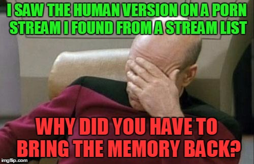 Captain Picard Facepalm Meme | I SAW THE HUMAN VERSION ON A PORN STREAM I FOUND FROM A STREAM LIST WHY DID YOU HAVE TO BRING THE MEMORY BACK? | image tagged in memes,captain picard facepalm | made w/ Imgflip meme maker